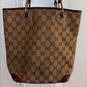 Gucci GG Canvas Monogram Bucket Bag Eclipse Tote